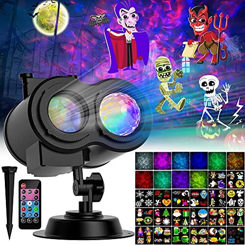 Halloween Christmas Projector Lights Outdoor, 2-in-1 Moving Patterns Landscape Lights, 30 HD Effects ( 3D Ocean Wave & Patterns) Projection Light for Xmas Halloween Party Garden Decorations