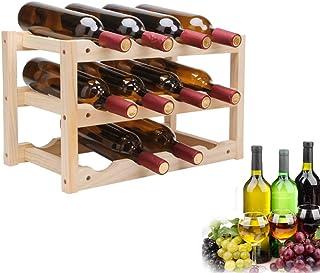 L.HPT Casier à vin en Bois, Présentoir de vin en Bambou Nature à 3 Niveaux, étagère de Rangement de vin empilable sur Pied...