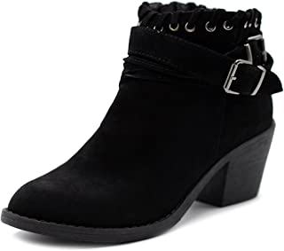 Ollio Women Shoe Faux Suede Buckled Zip Up Stacked Heel Ankle Boots