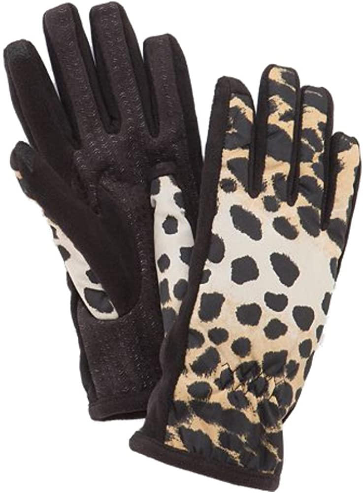 Isotoner Smartouch Womens Brown Leopard Print Smart Touch Tech Text Gloves