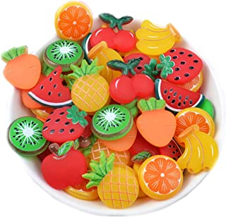 50 Pack 3D Fruit Vegetable Slime Charms Resin Flatbacks Buttons Polymer Clay Beads for Miniature Fairy Garden Hair Accessories Home Decorations (Mixed)