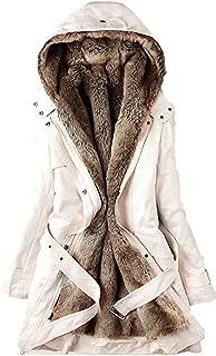 vermers Women Coats Winter, Womens Warm Long Coat Fur Collar Hooded Jacket Slim Parka Outwear