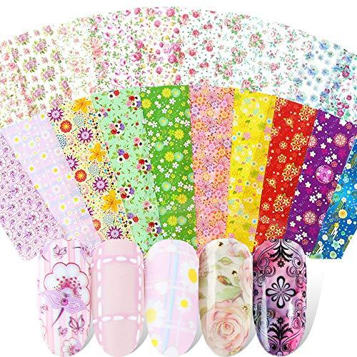 Kalolary 50 Farben Nail Transferfolie Nagel Aufkleber, Sternenhimmel Nagel Aufkleber, Nail Art Transferfolie Aufkleber für Nagel Spitze Dekoration