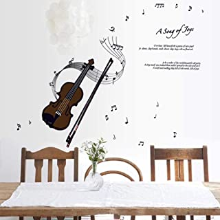 LSDAMW Wall Decal Stickers Waterproof Musical Violin Wall Stickers Kindergarten Music Classroom Piano Room Wall Background Decoration Stickers Removable Stickers