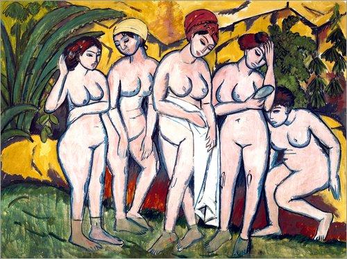 Posterlounge Acrylglasbild 70 x 50 cm: Frauen im Bade von Ernst Ludwig Kirchner - Wandbild, Acryl Glasbild, Druck auf Acryl Glas Bild