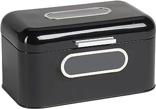 ECHTWERK Brotkasten, Brotbox, aus Metall, smal,schwarz, 30 x 20 x 16.5 cm