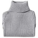Jersey de Cuello Alto Niños Niñas Suéter Grueso de Otoño Invierno Prendas de Punto de Manga Larga Gris 110