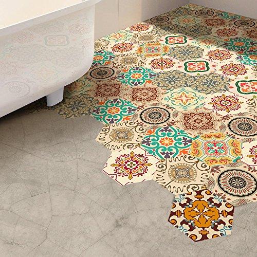Haus Dekoration Funlife Self Adhesive Badezimmer Fussboden Aufkleber Wasserdicht, Jahrgang Barock DIY Kunst-Wand-Dekor, Nicht Beleg-PVC-Boden-Matte Aufkleber (Size : 20 Pieces (0.92sqm))