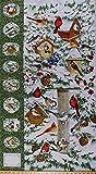 "23.5"" X 44"" Panel Winter Birds Bird Feeders Cardinal Blue-Jay Chickadee Tufted Titmouse Pine Tree Snowy Branches Pine Cones Winter Berries Snow Bird Houses Birdwatchers Scenic Cotton Fabric D759.15"