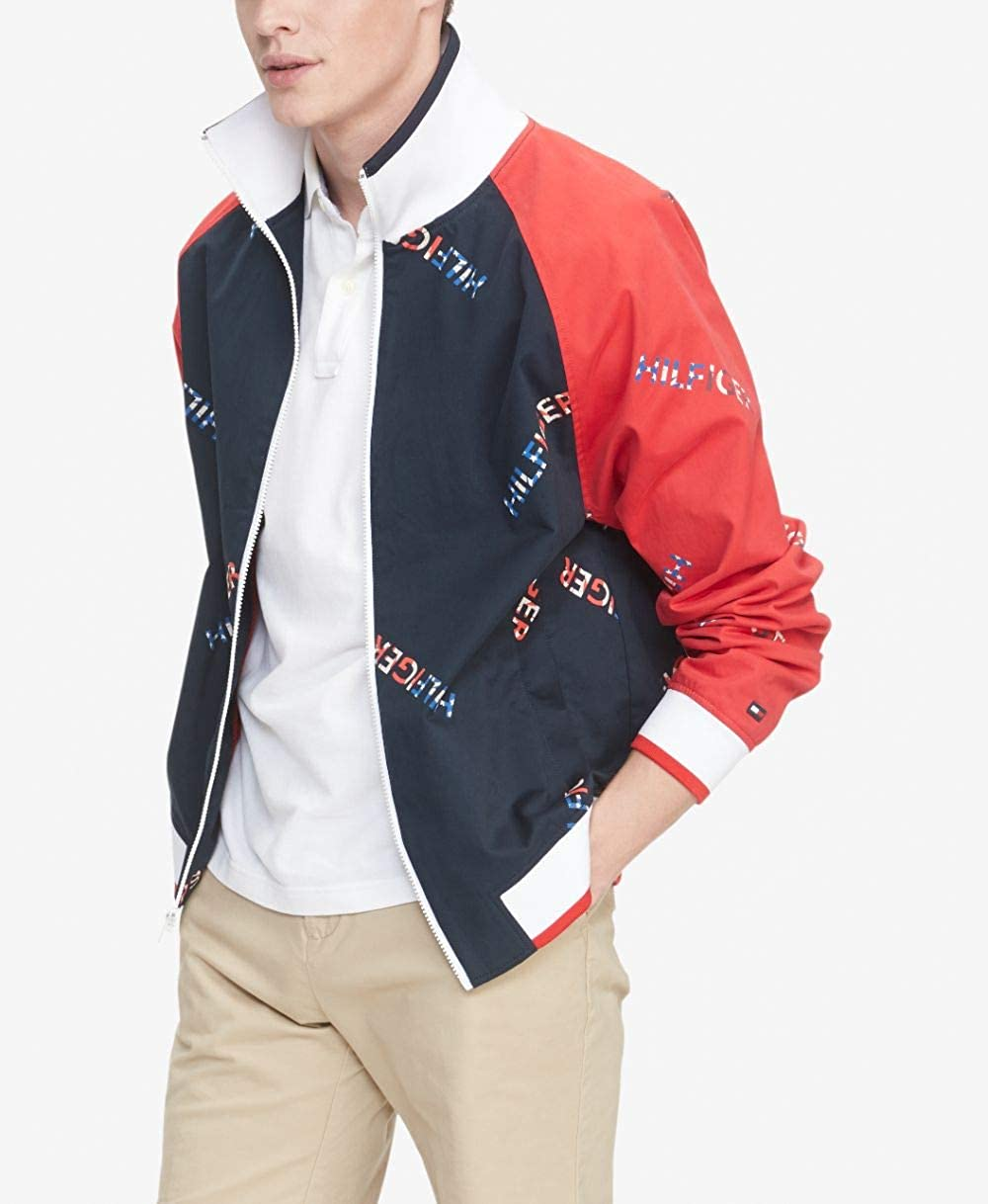 Tommy Hilfiger Mens Stand Collar Retro Colorblock Track Jacket