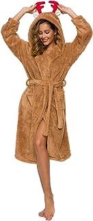 Gift for Her Women's Bathrobe Melange Grey Yellow Brown Robe Cute Robe Corgi,Wapiti, Little Monster Hoodie Robe
