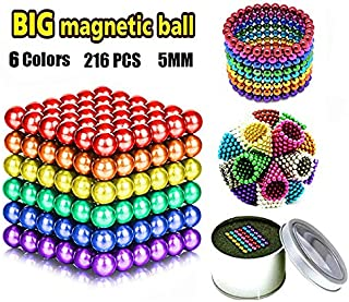 JIAKELOVEYI 6 Colors 216 Pcs of 5MM Magnets DIY Toys Magnetic Fidget Blocks Building Blocks for Development Learning and Stress Relief Magnet Office Desk Toys for Adults