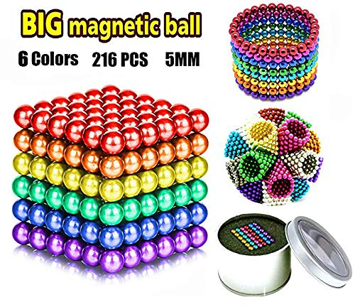 JIAKELOVEYI 6 Colors 216 Pcs of 5MM Magnets DIY Toys Magnetic Fidget Blocks...