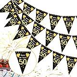 50 Cumpleaños Pancarta Triángulo Oro Negro,50 Cumpleaños Banderines Decoracion de Fiesta,50 Años Oro Negro Guirnalda Banderas,50 Cumpleaños Banderines Decoración Colgante Pancarta de Bienvenida