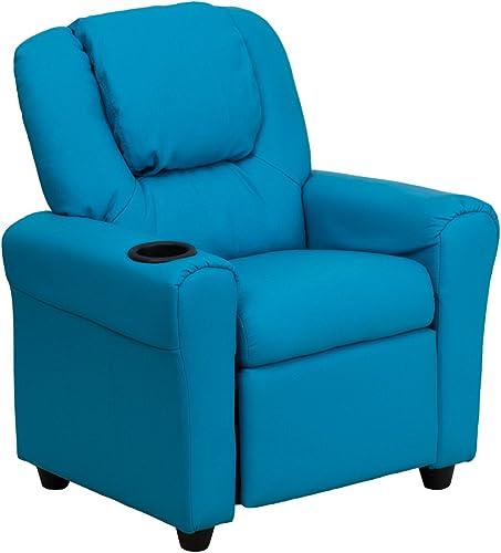 Envio gratis en todas las ordenes Offex of-dg-ULT-Kid-turq-GG contemporáneo Vinilo azul Niños reclinable reclinable reclinable con portavasos y reposacabezas  El ultimo 2018