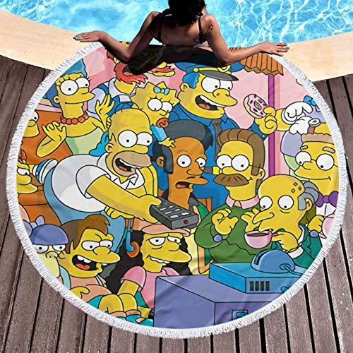 Simp-Son - Toalla de playa multiusos con borla redonda para yoga, superabsorbente de agua, secado rápido y círculo de microfibra