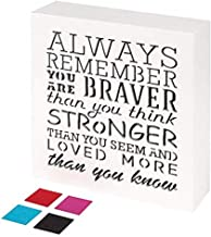 KAUZA Always Remember You are Braver Than You Think - Inspirational Gifts Positive Wall Plaque Pallet Saying Quotes for Bi...