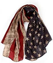 LRRH Vintage American Flag Scarf,Unisex Fashion Premium Patriotic,Red,Khaki and Blue American Flag Infinity Shawl Scarf