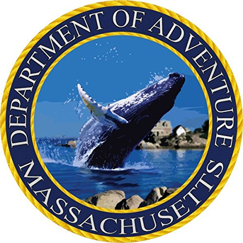 Massachusetts State Seal Sticker Dept of Outdoor Adventure | Breeching Whale | Apply to Water Bottle Decal Laptop Computer Car Bumper Oval Magnet | Boston Sox Patriot Masshole 508 Wicked Good Celtic