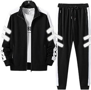 Men's 2-piece set,Sweatshirt Tops Reflective Stripe Hooded Long Sleeve Pullover Full-Zip Jogger Sweatpants Sports Suit Gym...