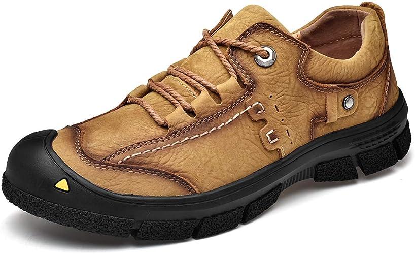 JFQ-or Cuir pour Hommes de Taille Basse Chaussures de randonnée,Chaussures de Camping en Plein air antidérapantes Four Seasons