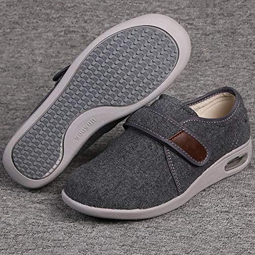 XRDSHY Zapatos para Diabéticos para Hombres Zapatos Ultra Anchos para Ancianos, Pies Hinchados Zapatos Cómodos para Caminar Ajustables Antideslizantes,Gray-EU36/230mm