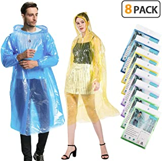 KMMIN Disposable Ponchos, Emergency Rain Ponchos Family Pack Reusable Running Rain Ponchos with Drawstring Hood and Elastic Sleeve,Portable Disposable Rain Ponchos for Men Women Kids (8 Pack)