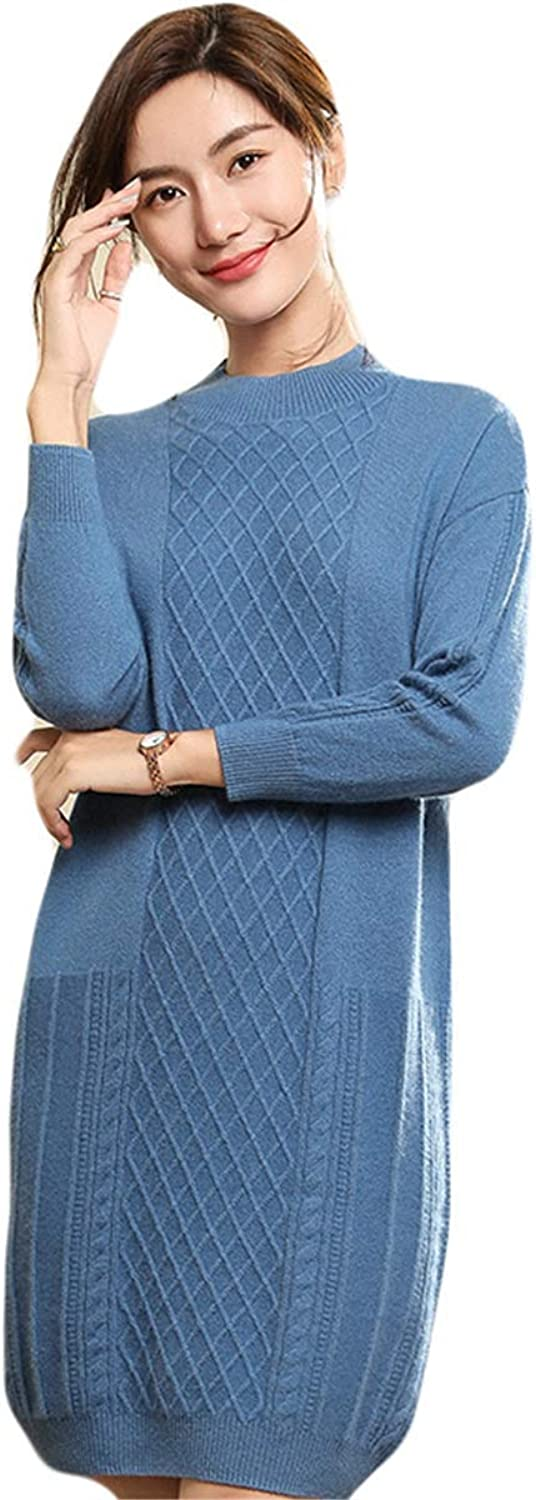 Baby Room Women's Classic Long Sleeve Cashmere Sweater Dress