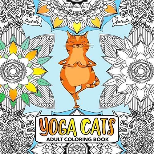 Yoga Cats Adult Coloring Book