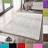 VIMODA Alfombra Prime Tipo Shaggy de Pelo Largo en Color Blanco, alfombras Modernas para el salón y el Dormitorio, Monocolor, Maße:80x150 cm
