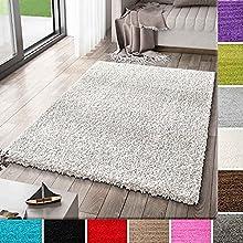 VIMODA Alfombra Prime Tipo Shaggy de Pelo Largo en Color Blanco, alfombras Modernas para el salón y el Dormitorio, Monocolor, Maße:120x170 cm