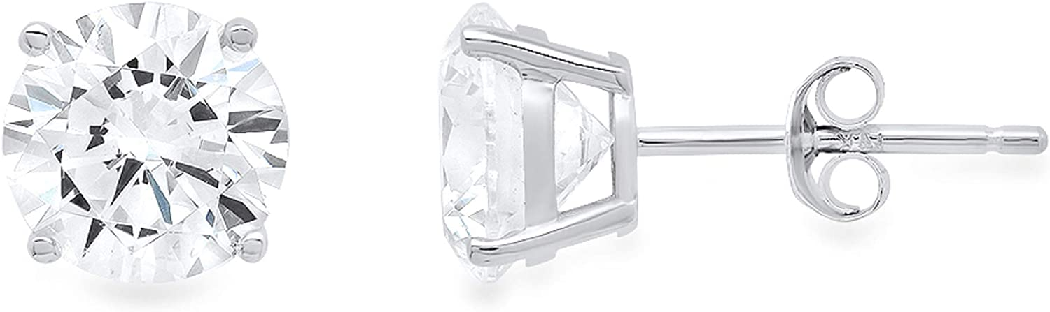 0.5 ct Round Brilliant Cut Conflict-Free VVS1 Ideal Gemstone Birthsone designer Simulated Diamond CZ Solitaire Stud Earrings in Solid 14k White Gold Push Back