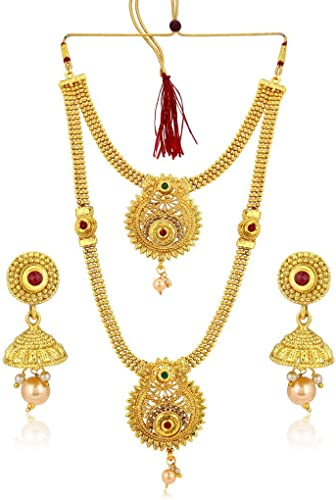 Classic Gold Plated Wedding Jewellery Long Haram Necklace Set For Women N72489GLDPH022018