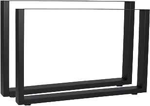 WilTec Industrial Square tafelpoten gepoedercoat zwart 100x72cm voor tafels banken en bureaus