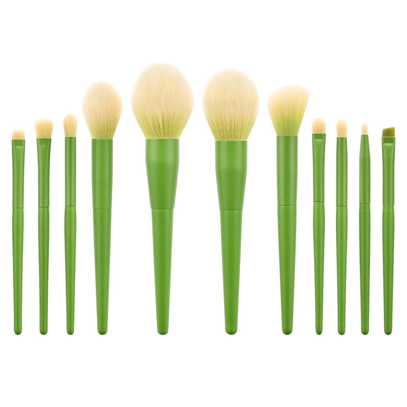 シットコムリンス自動化Lurrose 11ピース化粧ブラシキットナイロン毛木製ハンドル合成ソフト赤面ブラシ化粧品ブラシパウダーブラシ用女性女の子