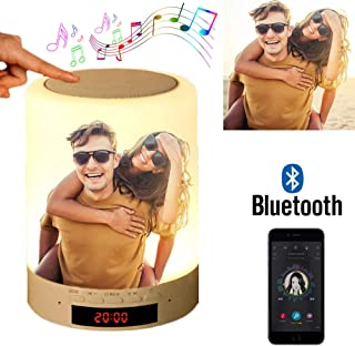 Custom Photo Bluetooth Speakers Touch Control Bedside Lamp Table Lamp Color LED Camping Party Night Light Music Player - Full Color Printing