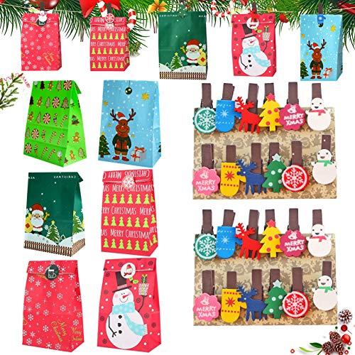 Geschenktüten Weihnachten, 24 Stück Weihnachten Papiertüte,mit Christmas Wooden Decoration Pegs,Weihnachten Geschenktaschen,Geschenkbox,Geschenktüten,Süßigkeiten Tüten,Geschenk Papiertueten