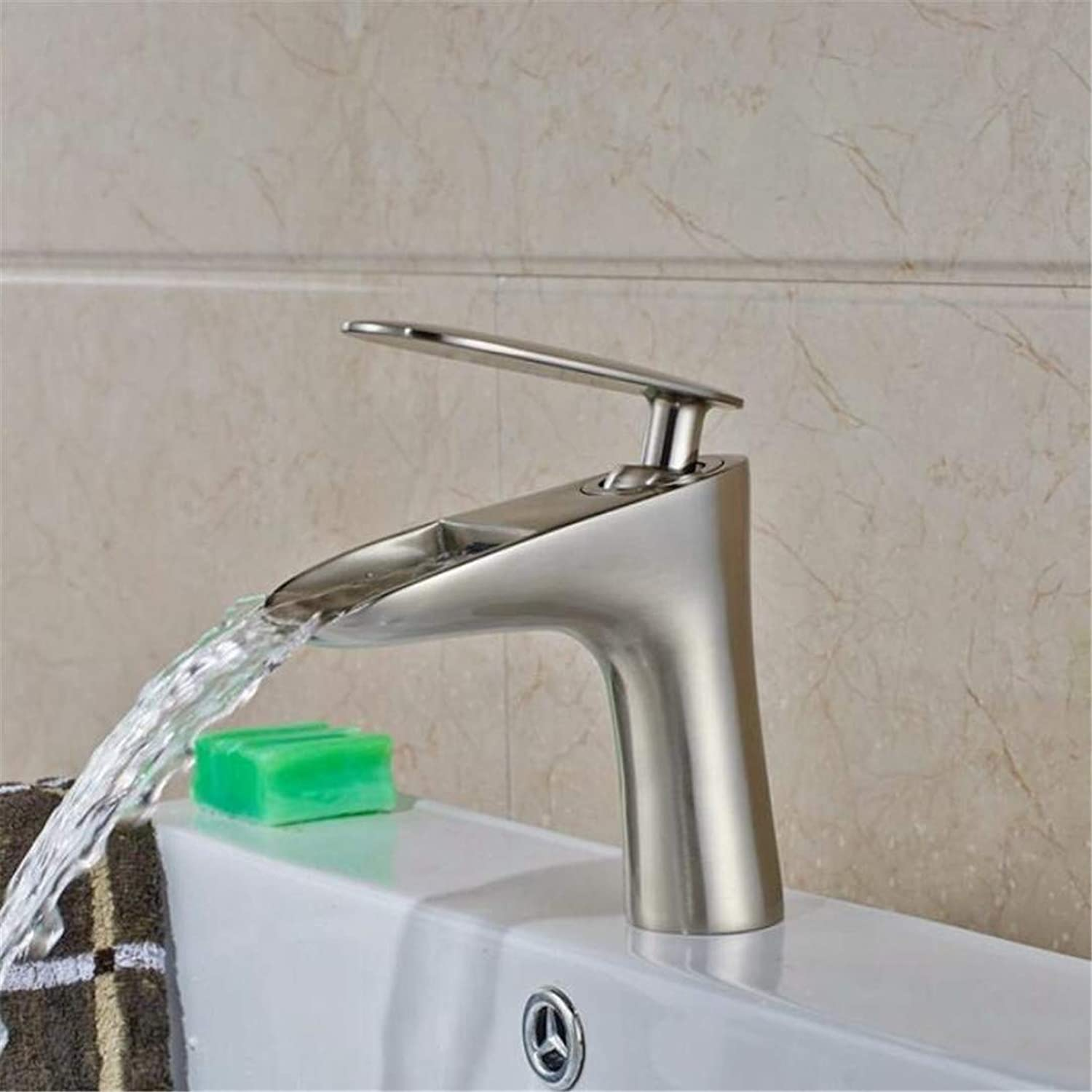 Faucet Washbasin Mixer Wholesale and Retail Deck Mounted Nickle Brushed Basin Faucet Mixer Tap Single Lever Swivel Spout