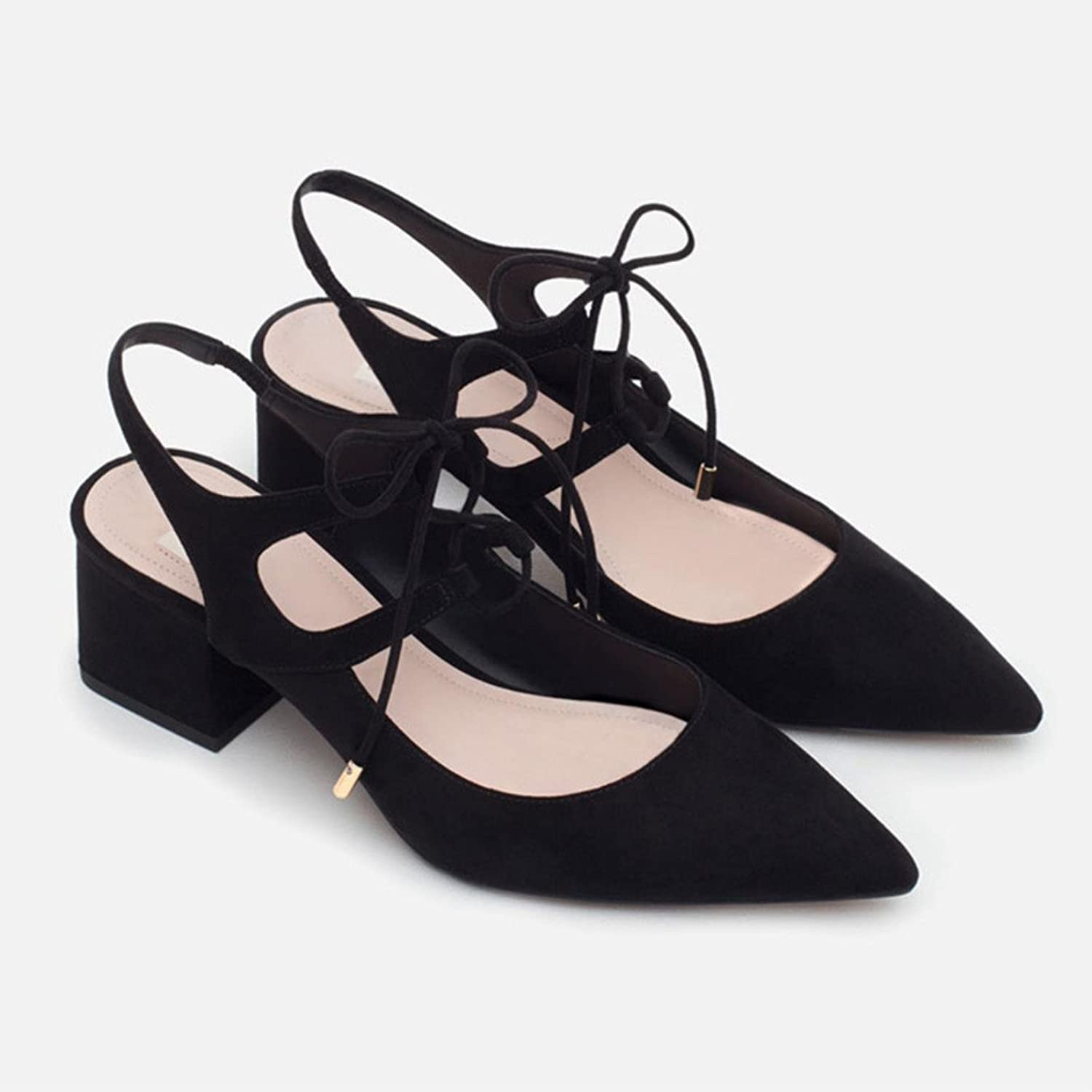 Woman Lace Up 6 CM Mid Heels Summer Pumps Pointed Toe Women Office shoes
