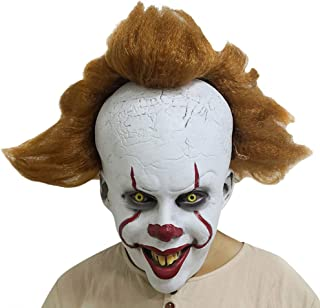 Adult Clown Mask with Hair and Exposed Teeth for Halloween Costume, Cosplay, Easter, Theme Party