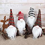 GMOEGEFT Swedish Christmas Gnome Plush, Scandinavian Santa Gnome Tomte, Table Holiday Decorations, Set of 4 (D)