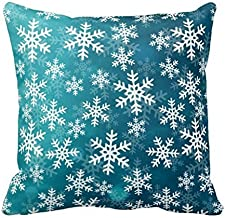 Teal Blue and White Snowflakes Throw Pillow Cover Stylish,Decorative,Unique,Cool,Fun,Funky Beauty POP 18 X 18 Inch Two Sides