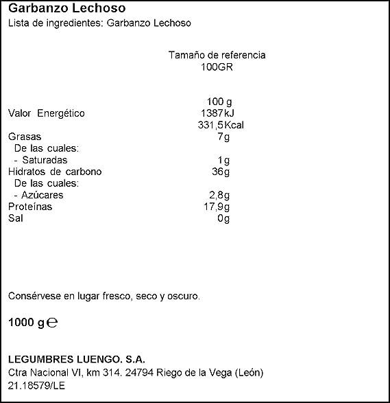 Luengo - Garbanzo Blanco Lechoso En Paquetes De 1 Kg - [Pack ...