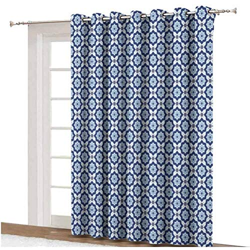 Moroccan Shading Curtains Azulejo Tile Pattern Diagonal Ceramic Pattern Arabesque Star Design Ornament Decorative Thermal Backing Sliding Glass Door Drape ,Single Panel 80x108 inch,for Home Decor Dark
