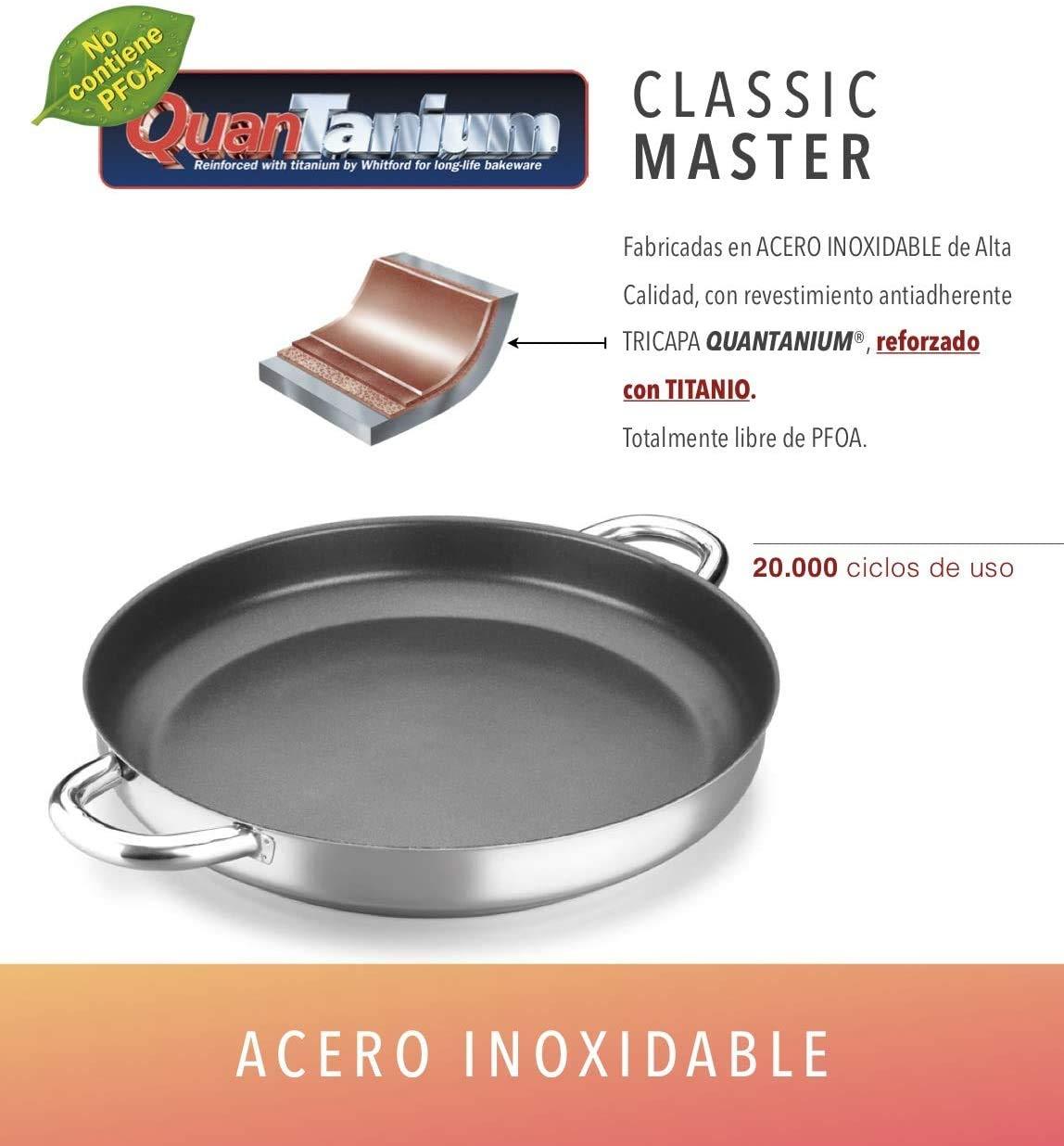 PAELLERA ALZA CLASSIC MASTER. PAELLERA fabricada en acero inoxidable 18/10, antiadherente triple capa, apta para todo tipo de cocina, INDUCCIÓN. Fácil Limpieza. Apto para lavavajillas. 30cm: Amazon.es: Hogar