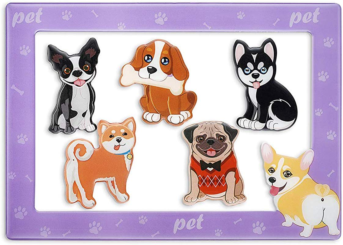 Morcart Cute Dog Magnets And 4x6 Inches Magnetic Photo Frame 6 Pcak Pet Puppy Fridge Magnets Set Decoration For Fridge Home Classroom Office Best Gift Choice