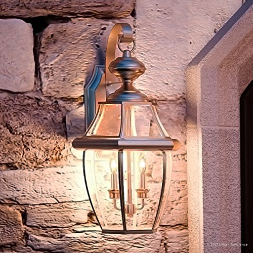 "Luxury Colonial Outdoor Wall Light, Large Size: 20""H x 10.5""W, with Tudor Style Elements, Versatile Design, Classy Aged Silver Finish and Beveled Glass, UQL1145 by Urban Ambiance"