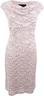 Connected Women's Petite Cowl-Neck Lace Sheath Dress