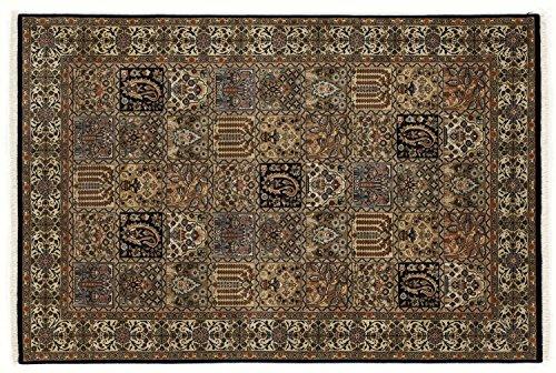 ROSHAN GHOM echter klassischer Orient Felderteppich handgeknüpft in blau-beige, Größe: 200x250 cm