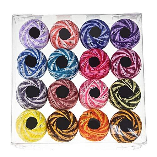 Eleusine 16 Farben Häkelgarn, Baumwollgarn - Baumwolle zum Häkeln - Baumwollgarn für Anfänger und erfahrene Häkelbegeisterte (Farbe (Mischfarbe))